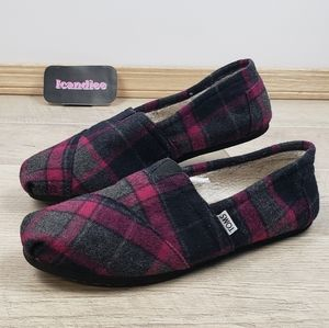 Toms Womens 11 Plaid Faux Shearling Lining Shoes